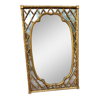 Vintage Faux Bamboo Gilded Mirror For Sale