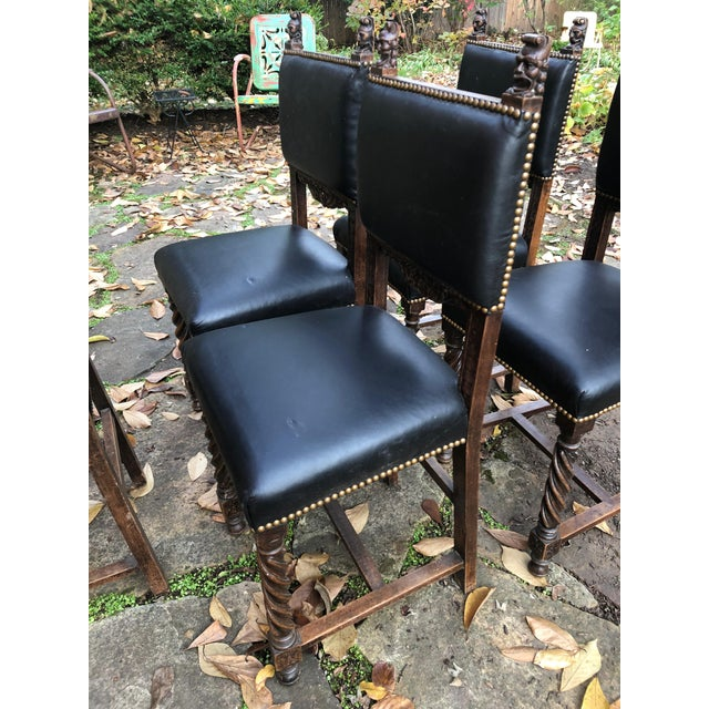 19th Century Carved Mahogany Jacobean Dining Side Chairs- Set of 5 For Sale - Image 10 of 13