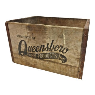 Vintage Industrial Queensboro Wood Milk Crate