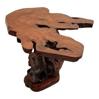Live Edge Redwood Burl End Table For Sale