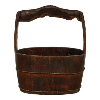 19th Century Antique Chinese Wooden Water Bucket For Sale