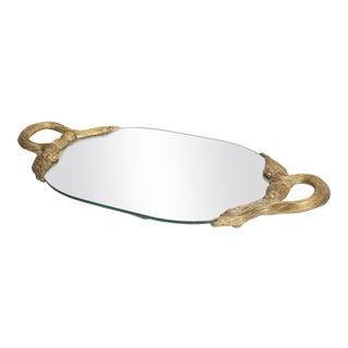 1980s Brass Rope & Tassel Themed Handled Regency Mirror Vanity Tray For Sale