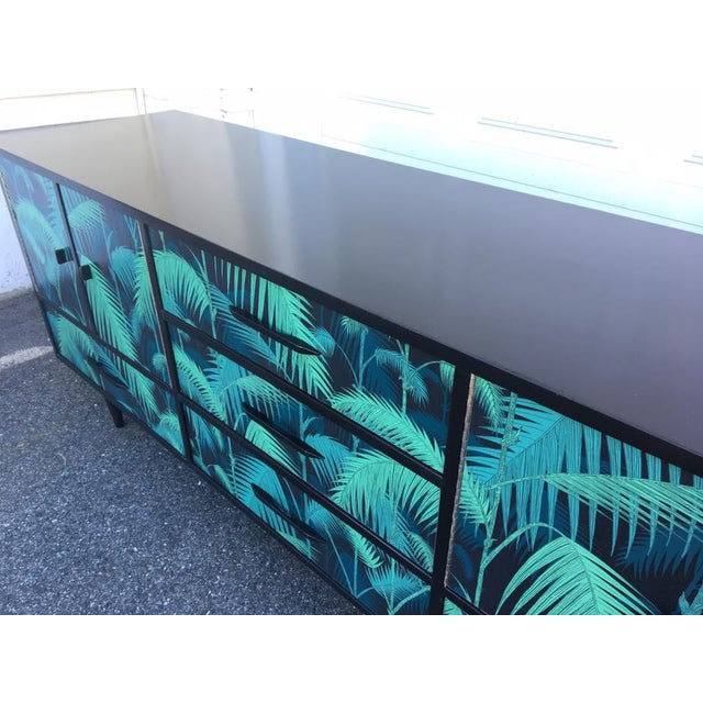 Mid-Century Palm Leaf Print Credenza - Image 5 of 5