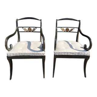 Late 19th Century Black Dining Chairs- A Pair For Sale