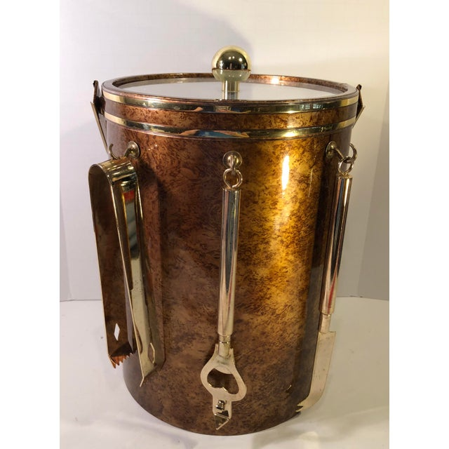 Vintage Marble Pattern With Gold Accent Ice Bucket & Bar Tools ManCave MadMen Style Decor For Sale - Image 10 of 13