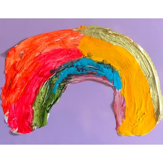 Megan Coonelly Rainbow on Lavender With Gold Painting For Sale