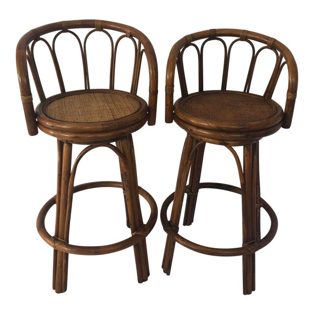 Mid-Century Bamboo Swivel Barstools - a Pair For Sale