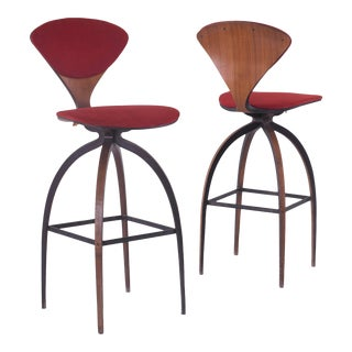 Mid Century Norman Cherner Bar Stools - a Pair For Sale