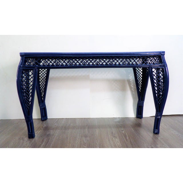 Wood Vintage Navy Lacquer Finish Bamboo Rattan Glass Topped Console Table For Sale - Image 7 of 7