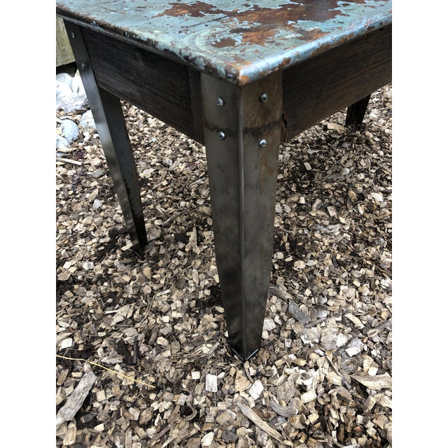 Industrial Distressed Wood Table With Metal Legs For Sale - Image 9 of 13