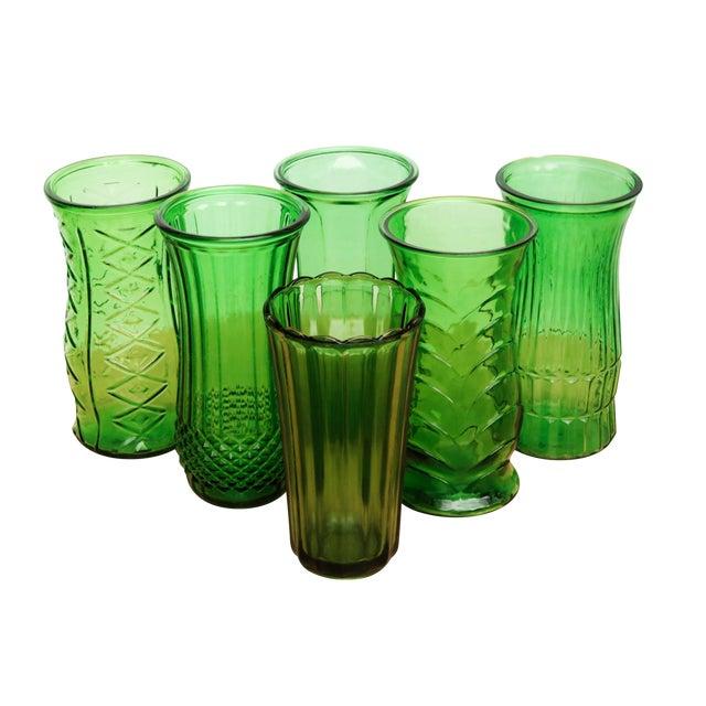 Emerald Green Glass Flower Vases Set Of 6 Chairish