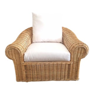 Vintage Oversized Rattan Club Chair For Sale