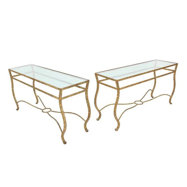 Contemporary Pair of Ornate Gold Finish Console Tables For Sale - Image 3 of 9