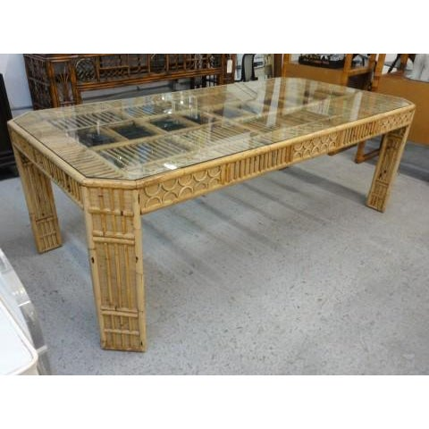 Bamboo & Seagrass Fretwork Dining Table - Image 11 of 11