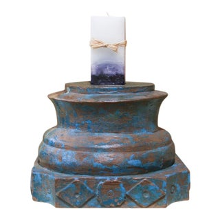 Aged Blue Architectural Candle Holder For Sale