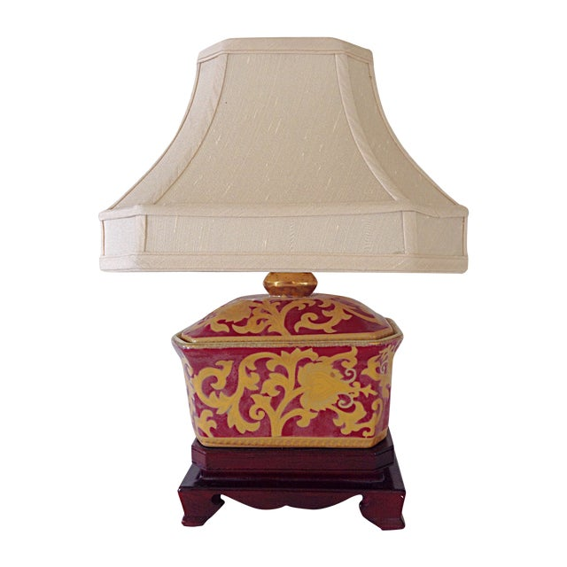 Small Porcelain Asian Table Lamp For Sale