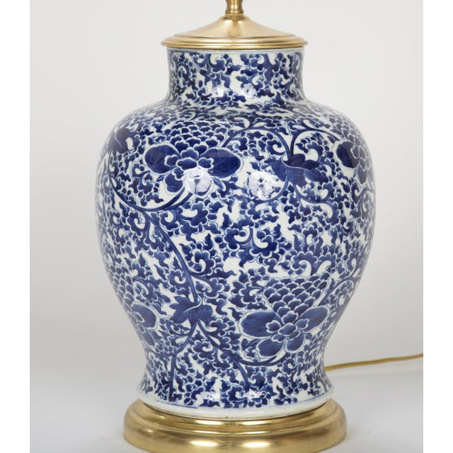 Ceramic 19th Century Chinese Blue & White Porcelain Vase now a Lamp For Sale - Image 7 of 11