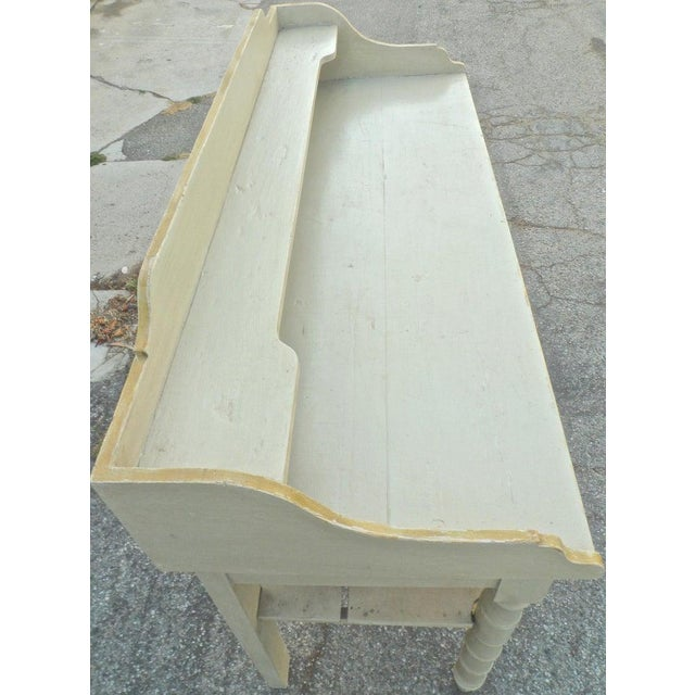 19th Century French Painted Server or Vanity With Two Drawers and Two Shelves For Sale - Image 9 of 12
