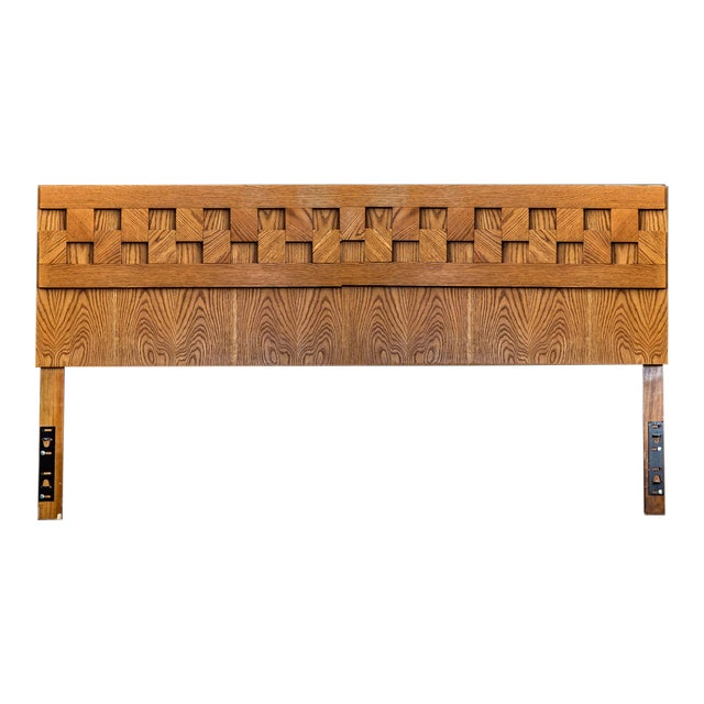 1970s Brutalist Lane Furniture King Headboard For Sale