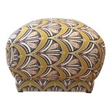 Image of Fabric Pouf Ottoman For Sale