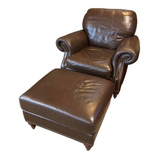 Ethan Allen Leather Chair & Ottoman For Sale