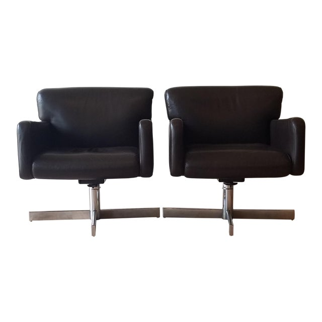 1980s Leather Swivel Reclining Chairs - a Pair For Sale