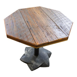 Industrial Reclaimed Wood Top Bistro Table