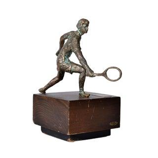 1994 Vintage Jere Bronze Tennis Player Sculpture For Sale