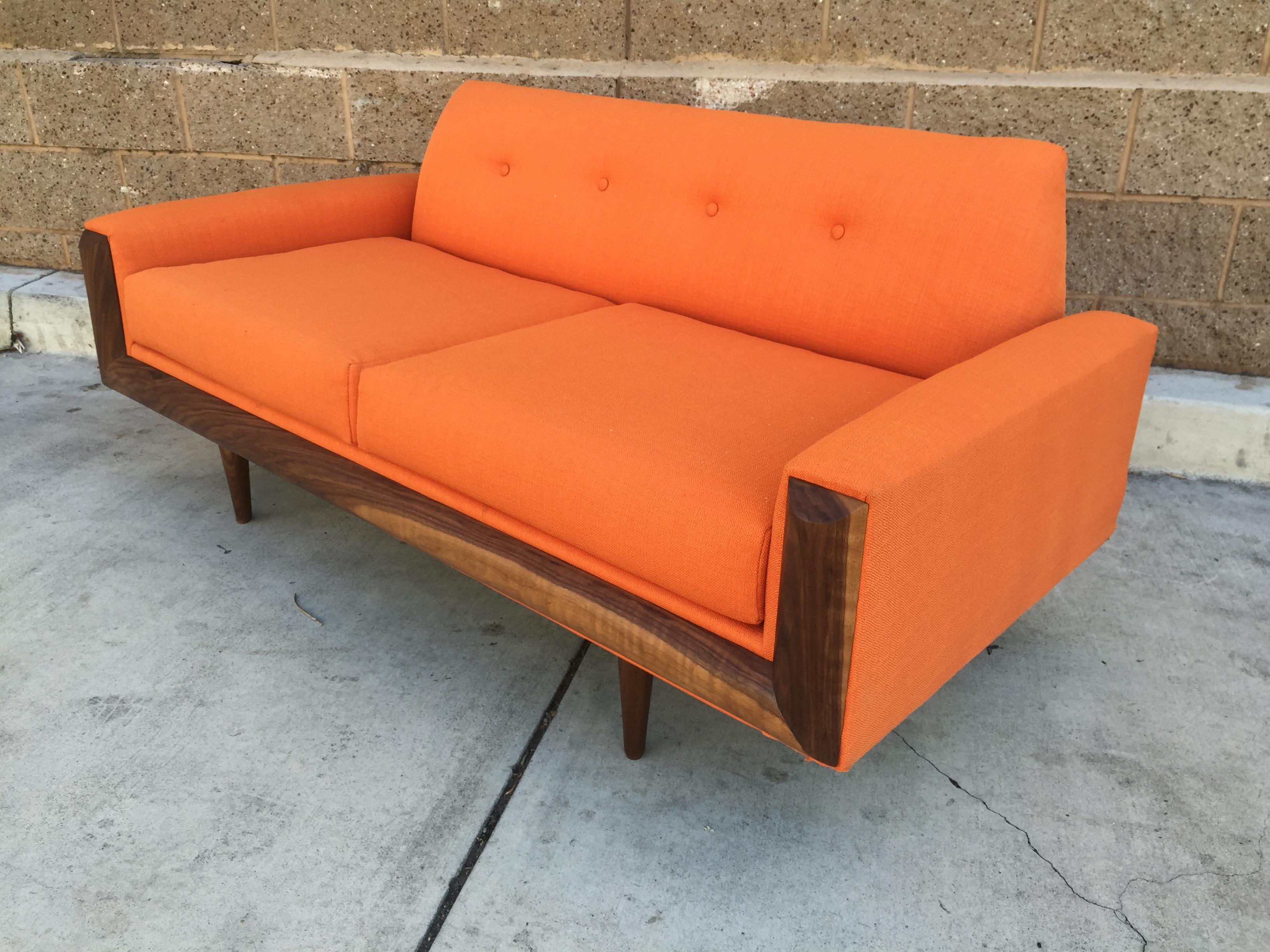 MCM Custom Walnut Loveseat Sofa   Image 4 Of 5
