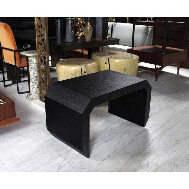 Mid-Century Modern Grass Cloth C Shape Coffee Table For Sale - Image 9 of 10