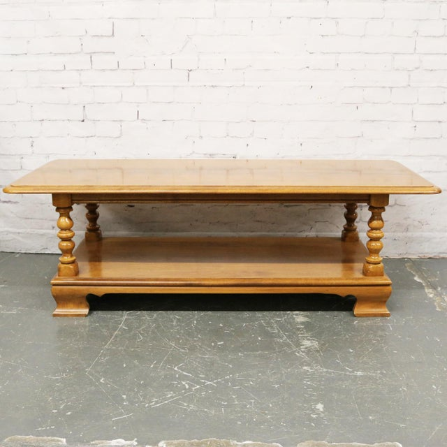 Brown Vintage Ethan Allen Maple Nutmeg Heirloom 10-8640 Rectangular Coffee Table For Sale - Image 8 of 8