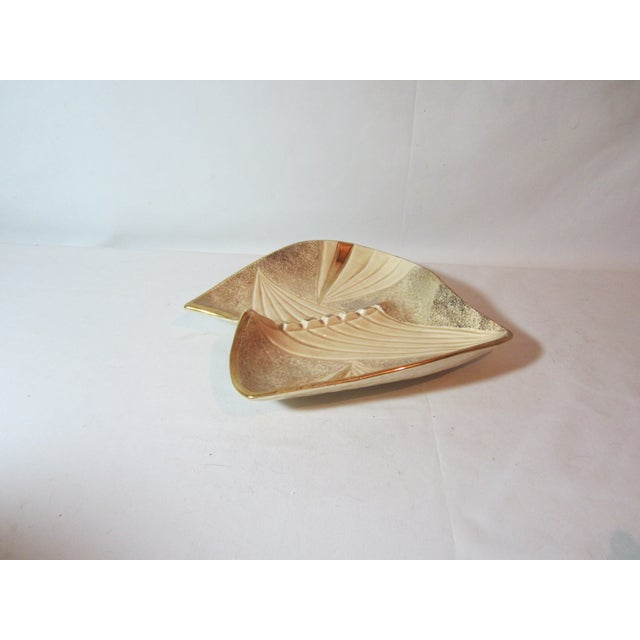 Mid Century Beige and Gold Ashtray - Image 3 of 7