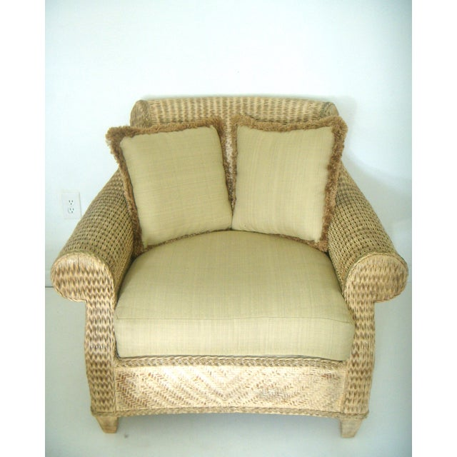 Oversized Wicker Arm Chairs & Ottoman - a Pair For Sale - Image 4 of 8