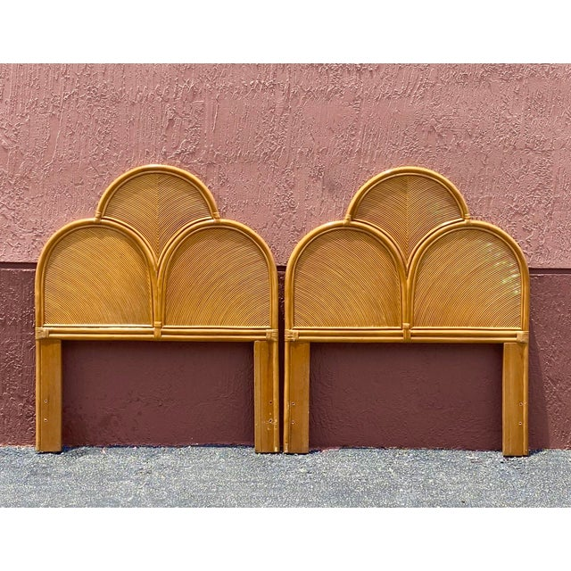 Late 20th Century Vintage Pencil Reed Headboards - a Pair For Sale - Image 5 of 13