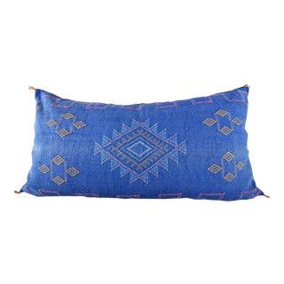 Indigo Moroccan Sabra Cactus Lumbar Cushion For Sale
