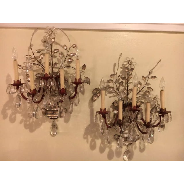 Maison Bagues Style Crystal & Bronze Five Light Wall Sconces - Set ...