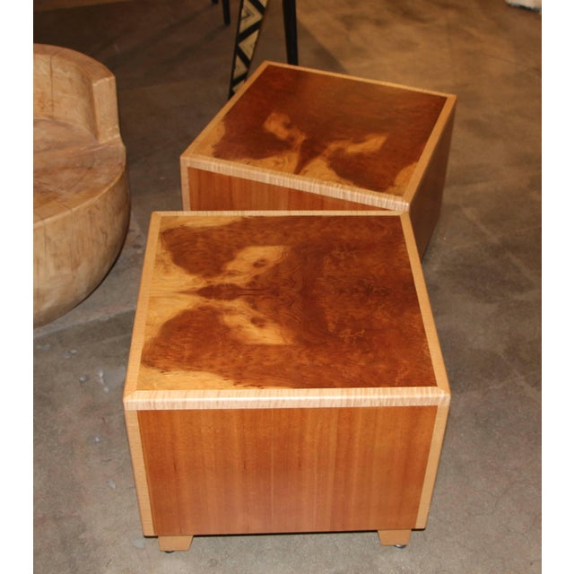 A pair of beautiful tables made by the noted wood artisan Joseph Kelly. He owns and founded the company in 1990. They...