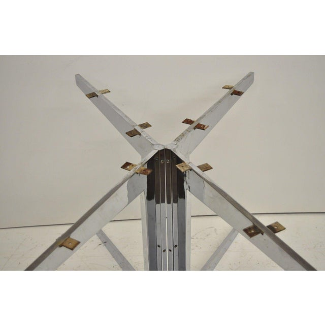 Mid-Century Modern Chrome Steel Double Star Pedestal Dining Table Bases - a Pair For Sale - Image 11 of 13