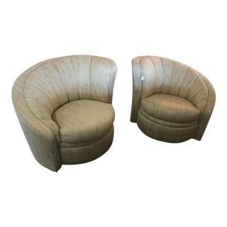 Karpen Nautilus Art Deco Swivel Chairs - a Pair