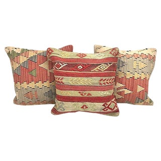 Turkish Kilim Wool Throw Pillows With Down Inserts - Set of 3