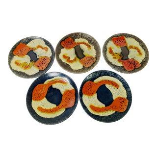Vintage Mid-Century Modern Poppy Flower Design Glaze Pottery Plates, Germany - Set of 5 For Sale