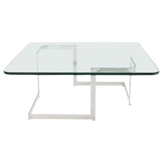 Large Square Thick Glass Top Coffee Table For Sale