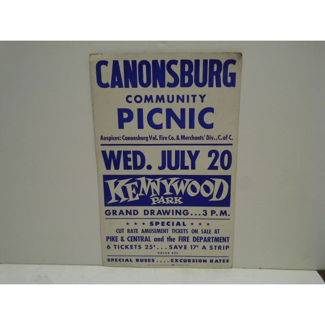 This is a vintage cardboard poster. Canonsburg Community Picnic -- Kennywood Park. Circa 1950.