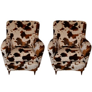 "Pair of 1960s French Fabric Imitation ""Foal"" Chairs"