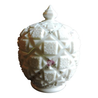 Vintage Circa 1950s Westmoreland Old Quilt Painted Milk Glass Candy Dish With Lid For Sale