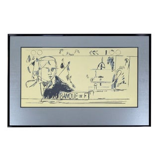 Contemporary Framed Litho French Money Gold Signed Larry Rivers 1992 For Sale