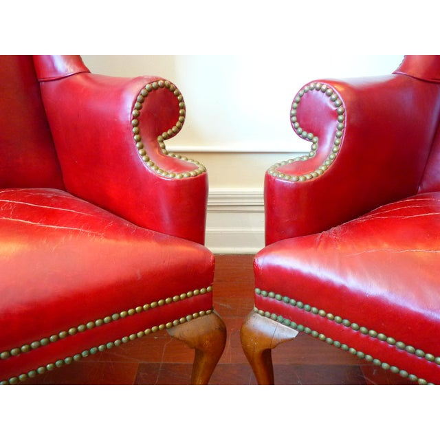 Vintage Red Leather Wingback Chairs With Nailhead Detail and Generous Proportions- Pair For Sale - Image 12 of 13