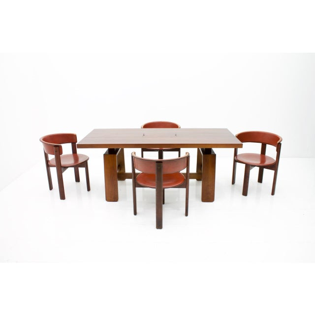 Set of Four Cassina Dining Room Chairs in Red Leather Italy, 1970s For Sale - Image 11 of 12