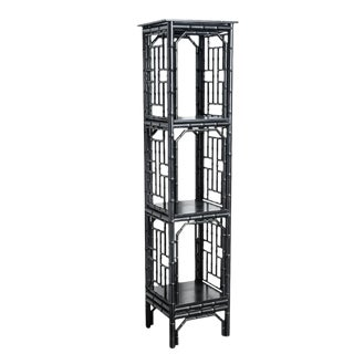 Hollywood Regency Faux Bamboo Fretwork Black Lacquer 4 Tier Etagere For Sale