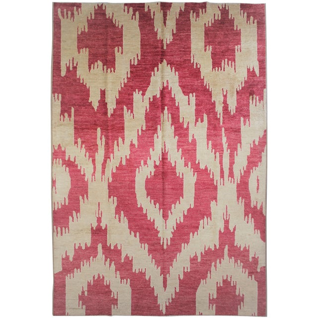 """Hand Knotted Ikat Rug - 13'4"""" X 10'6"""" For Sale"""